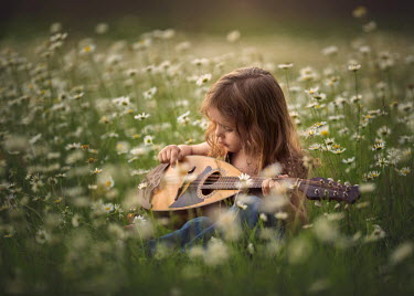 Lisa Holloway LITTLE GIRL PLAYING LUTE IN DAISY FIELD Children