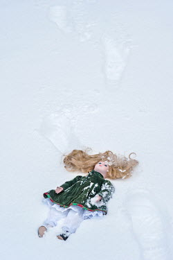 Adrian Muttitt CHINA DOLL BY FOOTPRINTS IN SNOW Miscellaneous Objects