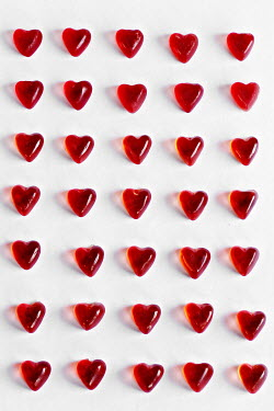 Jasenka Arbanas ROWS OF HEART SHAPED RED SWEETS Miscellaneous Objects