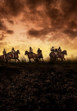 Stephen Mulcahey medieval knights on horseback in countryside Groups/Crowds