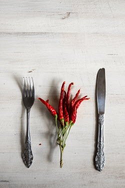 Maria Petkova DRIED RED CHILLI PEPPERS BY KNIFE AND FORK Miscellaneous Objects