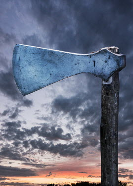 Stephen Mulcahey viking axe in country at sunset Miscellaneous Objects