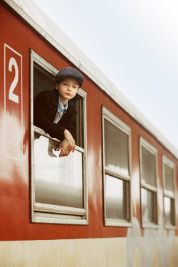 Krasimira Petrova Shishkova RETRO BOY LOOKING OUT TRAIN WINDOW Children