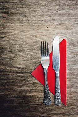 Laura Ranftler KNIFE, FORK AND NAPKIN ON TABLE Miscellaneous Objects