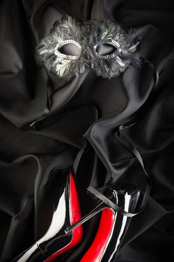 Paolo Martinez FEATHERED MASK AND STILETTOS ON BLACK SILK Miscellaneous Objects
