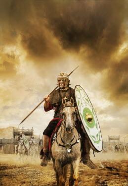 Stephen Mulcahey Roman officer in metal mask on horseback Men