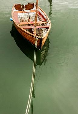 Stephen Mulcahey moored row boat on lake Boats