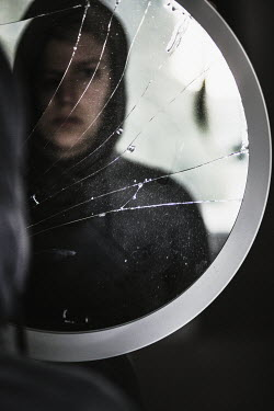 Rekha Garton YOUNG MAN REFLECTED IN CRACKED MIRROR Men