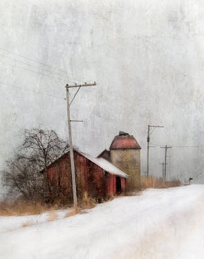 Jamie Heiden RED FARM BUILDING ON SNOWY COUNTRY ROAD Miscellaneous Buildings