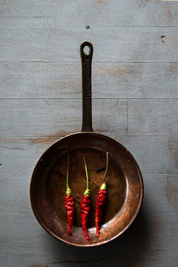 Maria Petkova THREE DRIED RED CHILLI PEPPERS IN SAUCEPAN Miscellaneous Objects