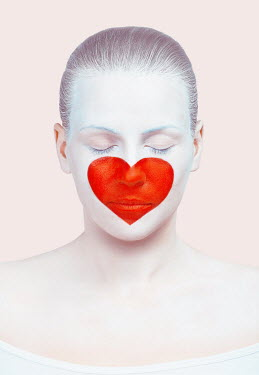 Tijana Moraca YOUNG WOMAN WITH HEART PAINTED ON FACE Women