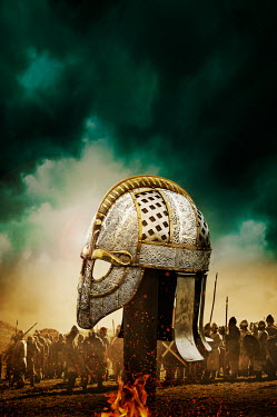 Stephen Mulcahey army behind a Medieval helmet placed on pole Groups/Crowds
