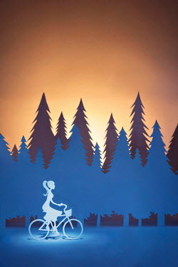Emma Goulder PAPER CUT OUT OF WOMAN RIDING BICYCLE Miscellaneous Objects