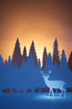 Emma Goulder PAPER CUT OUT OF STAG AND TREES Miscellaneous Objects