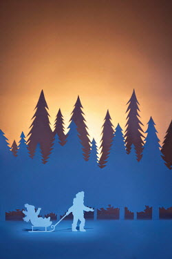 Emma Goulder PAPER CUT OUT OF TWO CHILDREN WITH SLEIGH Miscellaneous Objects