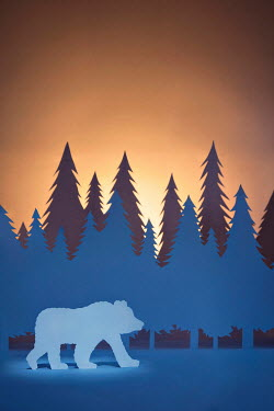 Emma Goulder PAPER CUT OUT OF BEAR AND TREES Miscellaneous Objects