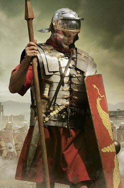 Stephen Mulcahey roman centurion wearing armour on battlefield Men