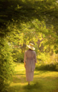 Debra Lill EDWARDIAN WOMAN WALKING IN GARDEN Women