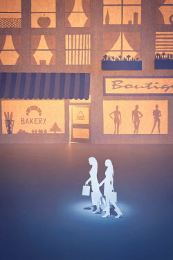 Emma Goulder PAPER CUT OUT OF TWO WOMEN SHOPPING Miscellaneous Objects