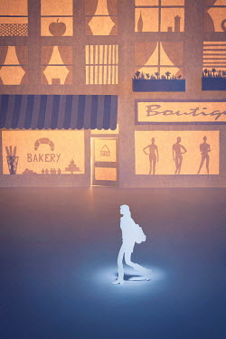 Emma Goulder PAPER CUT OUT OF WOMAN WALKING BY SHOPS Miscellaneous Objects