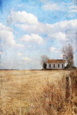 Pamela Schmieder WHITE FARM HOUSE IN SUMMER COUNTRYSIDE Houses