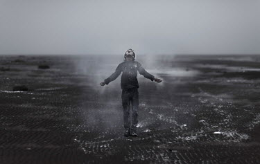Kirill Sakryukin YOUNG BOY STANDING ON DESOLATE BEACH Children