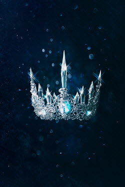 Sandra Cunningham Crown with ice crystals on dark blue background Miscellaneous Objects