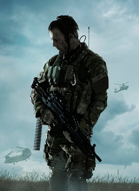 CollaborationJS modern soldier with gun near helicopters Men