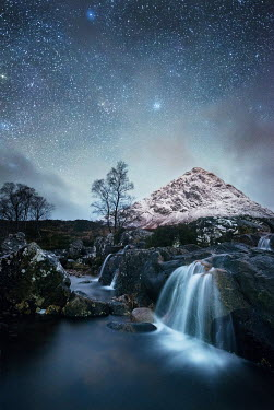 Ollie Taylor WATERFALLS AND MOUNTAIN UNDER STARRY SKY Miscellaneous Water