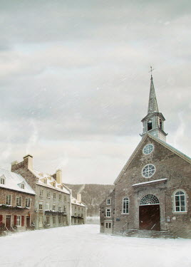 Sandra Cunningham Winter scene of rural historical church in Quebec Villages