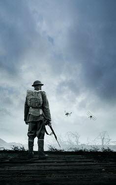 Stephen Mulcahey ww1 soldier with rifle watching aeroplanes Men