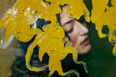 Michelle De Rose YOUNG WOMAN BEHIND GLASS COVERED IN PAINT Women