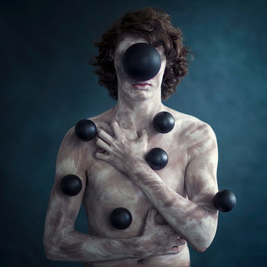 Michal Zahornacky SURREAL PAINTED MAN COVERED IN BLACK BALLS Men