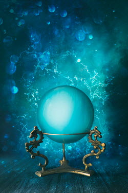 Sandra Cunningham Magical crystal ball on brass stand Miscellaneous Objects