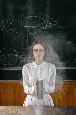 Inna Mosina GIRL IN CLASSROOM WITH CHALKY BOOK Women
