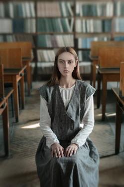 Inna Mosina RETRO GIRL SITTING IN CLASSROOM Women