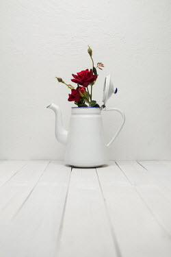 Paolo Martinez RED ROSES IN ENAMEL COFFEE POT Miscellaneous Objects