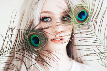 Jovana Rikalo BLONDE WOMAN WITH PEACOCK FEATHERS Women