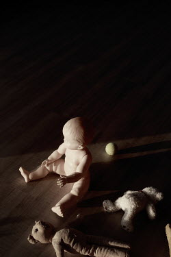 Sigrid Kolbe DOLL, TEDDY BEARS AND BALL ON FLOOR Miscellaneous Objects