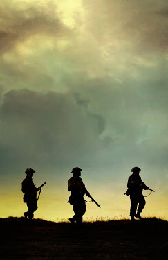 Stephen Mulcahey silhouette of three ww2 soldiers marching Groups/Crowds