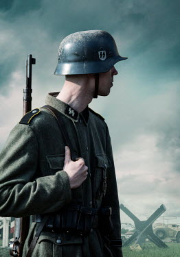 CollaborationJS ww2 SS soldier wearing tin helmet and gun Men