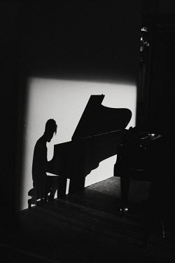 Giovan Battista D'Achille SILHOUETTE OF MAN PLAYING PIANO Men