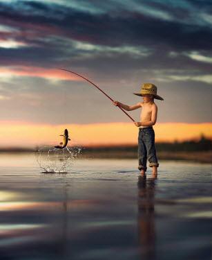 Jake Olson LITTLE BOY CATCHING FISH Children
