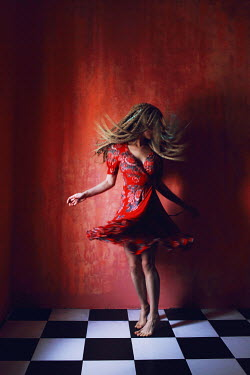 Ilona Shevchishina WOMAN DANCING ON CHEQUERED FLOOR Women