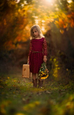 Jake Olson LITTLE GIRL WITH SUITCASE AND FLOWERS Children