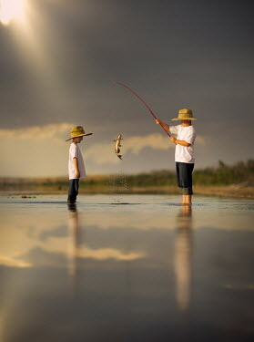 Jake Olson TWO BOYS FISHING IN LAKE Women
