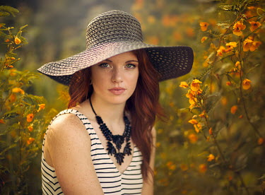 Jake Olson GIRL IN SUMMER HAT WITH FLOWERS Women
