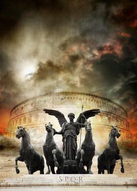 Nik Keevil ANCIENT ROMAN STATUE OF ANGEL AND HORSES Statuary/Gravestones
