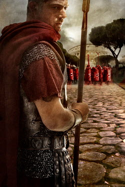 Nik Keevil ANCIENT ROMAN SOLDIER WITH ARMY BY COLOSSEUM Men