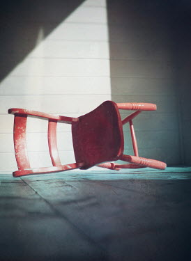 Mark Owen FALLEN RED CHAIR ON SHADOWY PORCH Miscellaneous Objects